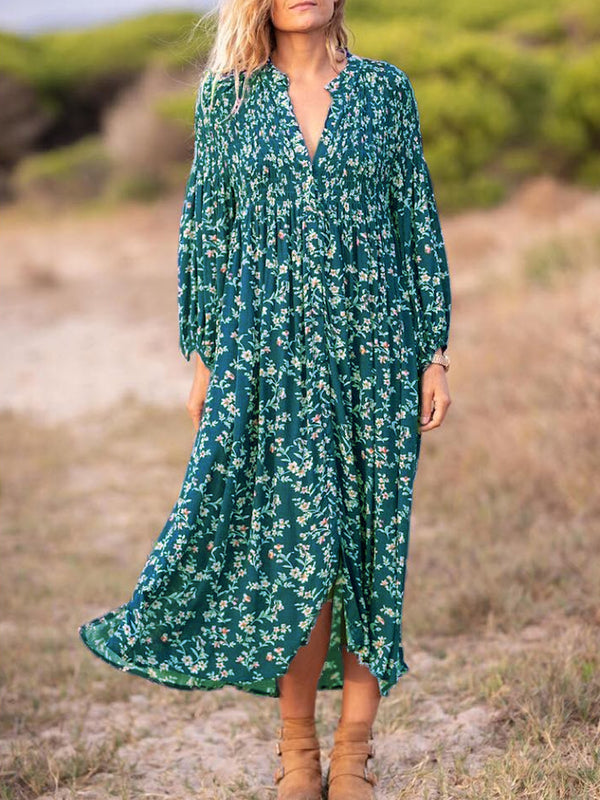 Blue Floral V Neck Long Sleeve Dresses