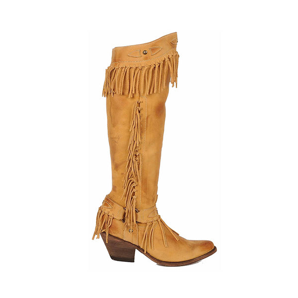 Yellow Tassel Chunky Heel Winter Boots