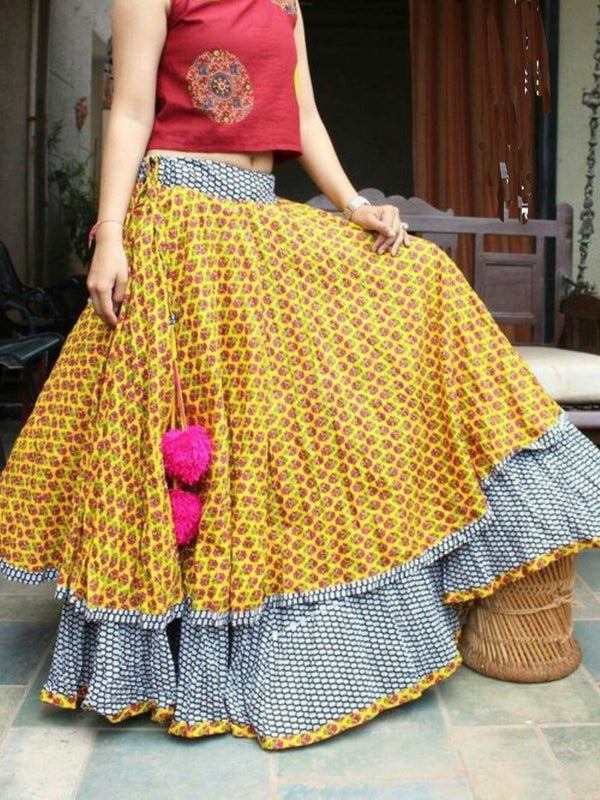 Casual Patchwork Skirts