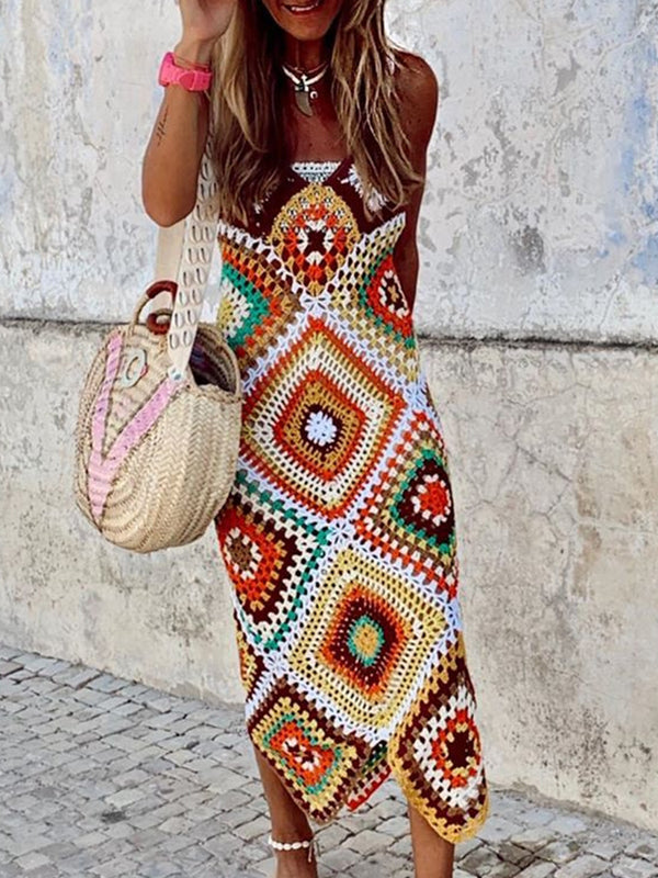 Plus Size Boho Geometric Sleeveless Dresses