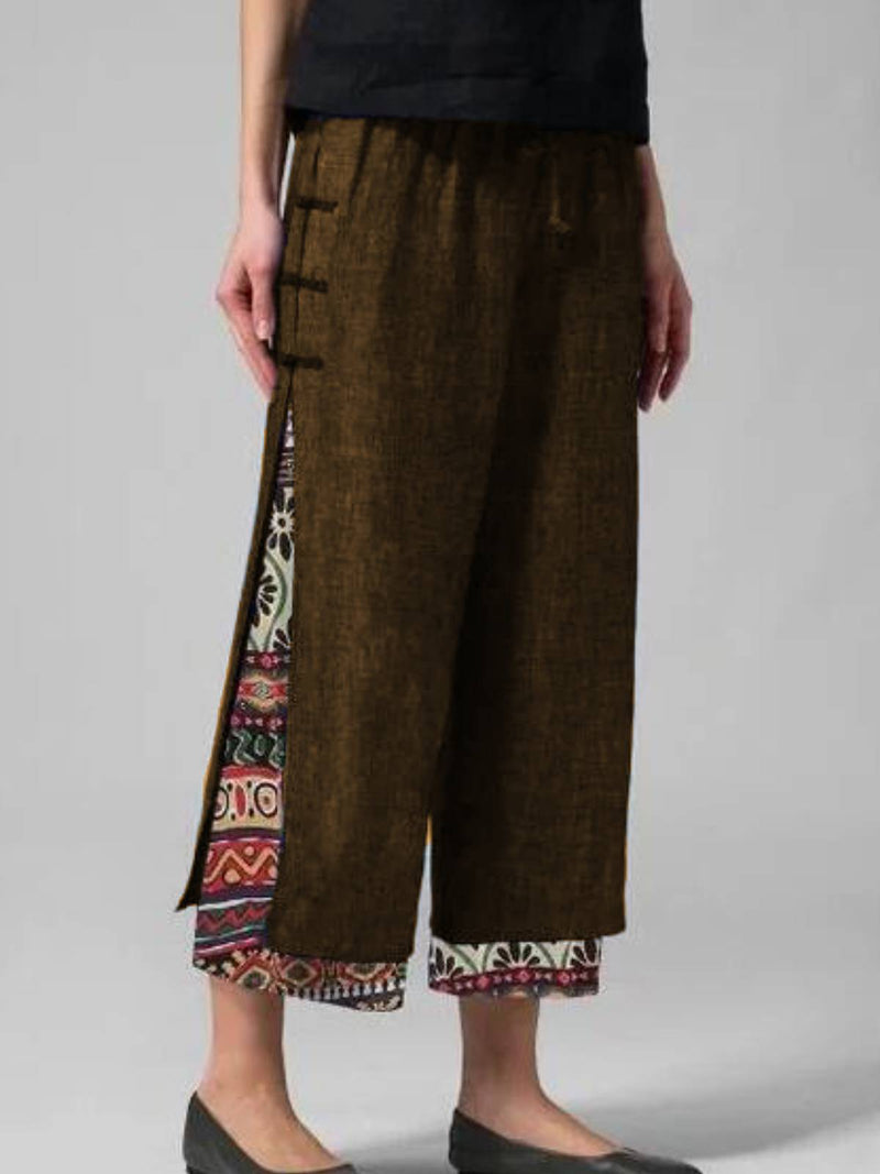 Cotton-Blend Patchwork Printed Pants