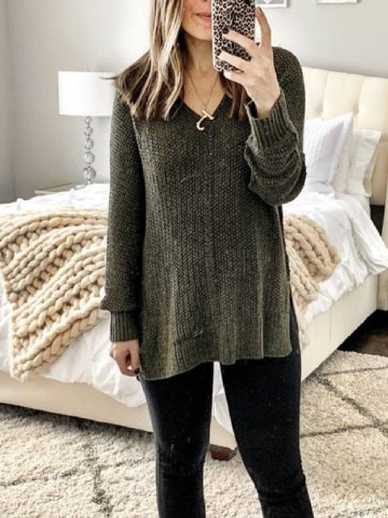 Dark Green Cotton-Blend Casual V Neck Sweater