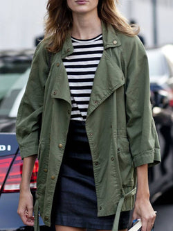 Army Green Casual Cotton-Blend Outerwear