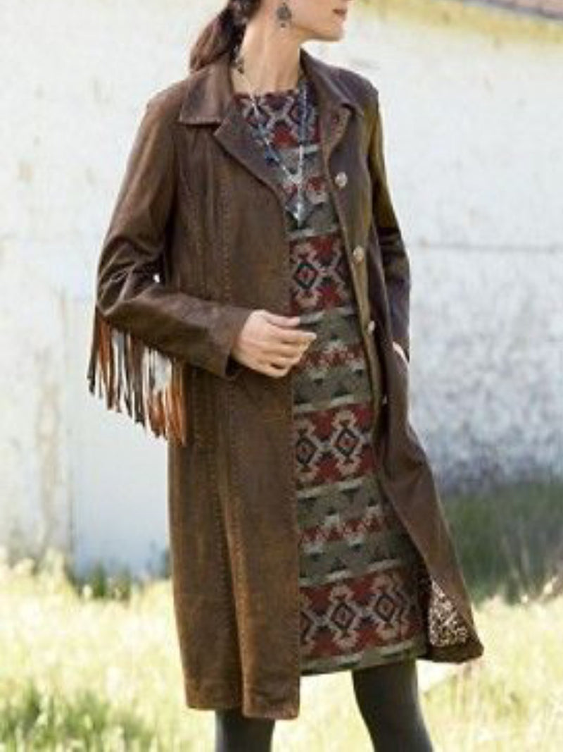 Brown Shawl Collar Long Sleeve Outerwear