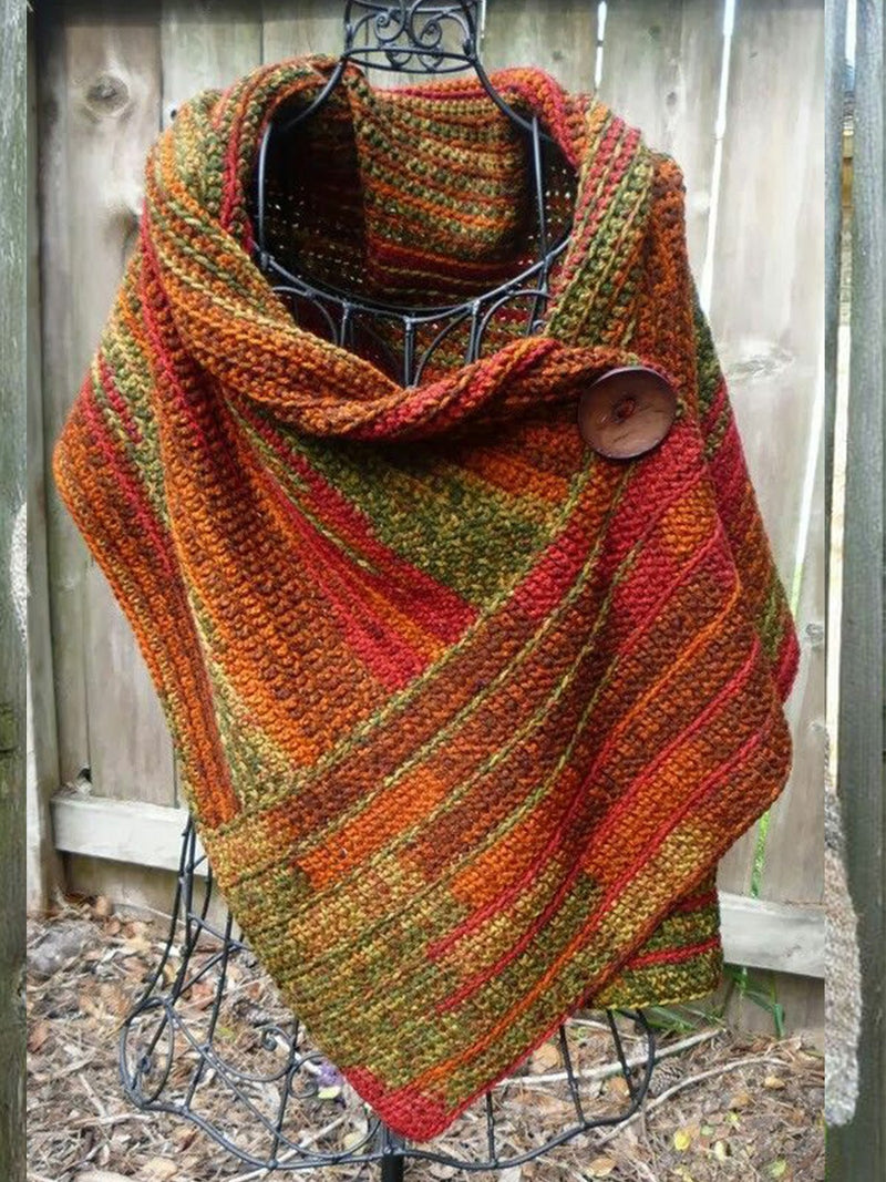 Orange 3/4 Sleeve Casual Vintage Scarves & Shawls