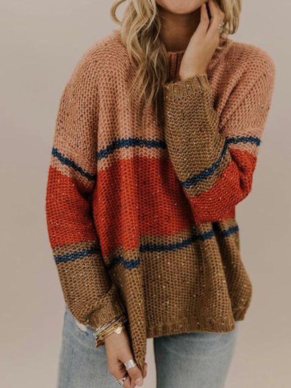 Crew Neck Cotton Long Sleeve Shift Sweater