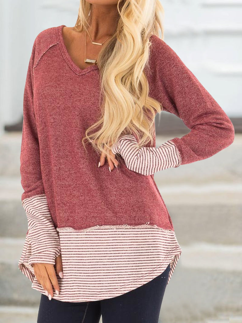 Red V Neck Cotton Long Sleeve Plus Size Sweatshirts