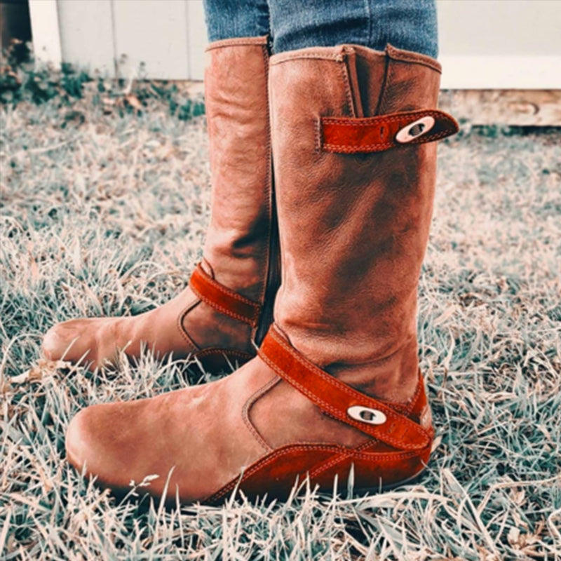 Brown Winter Suede Daily Flat Heel Boots
