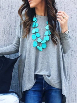 Light Gray Casual Cotton-Blend Round Neck Shirts & Tops