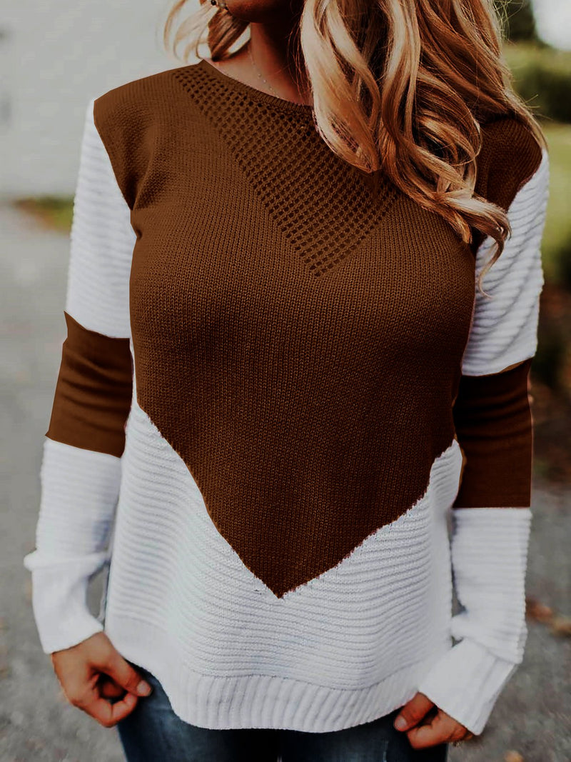 Abstract Knitted Long Sleeve Sweaters Plus Size Pullovers