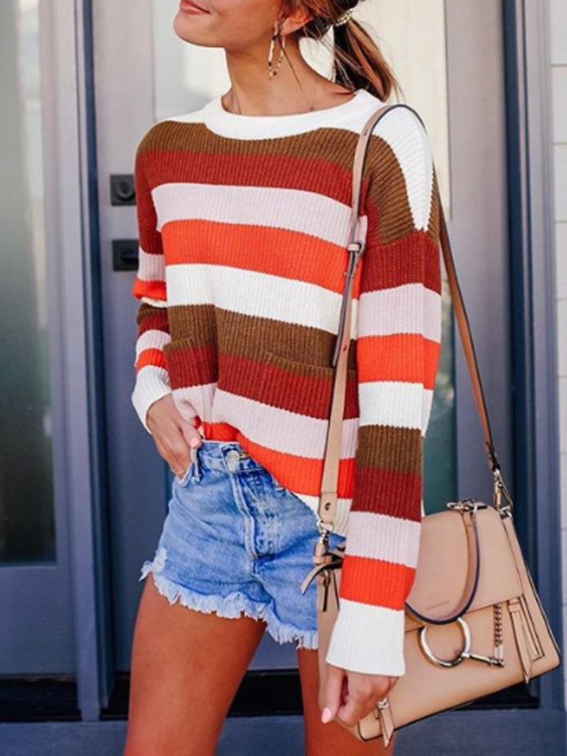 Long Sleeve Patchwork Color-Block Round Neck Sweater