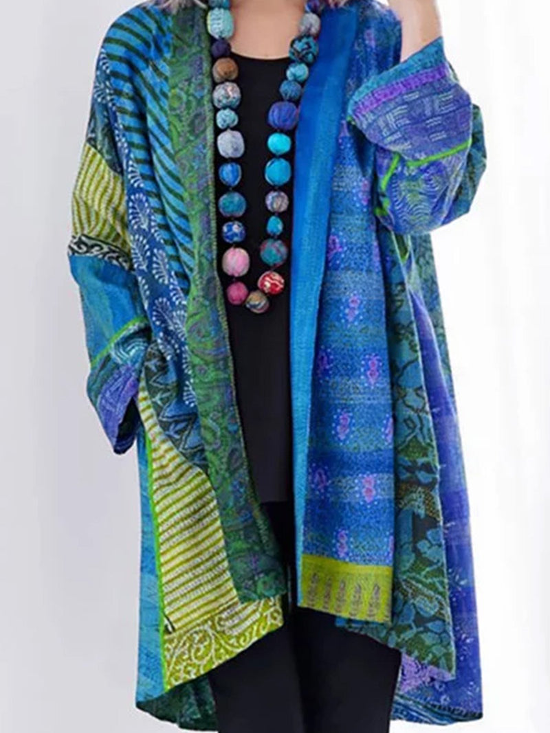 Blue Knitted Long Sleeve Vintage Plus Size Cardigan Coat