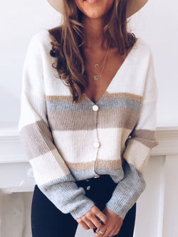 Plus Size Knitted V Neck Casual Sweater