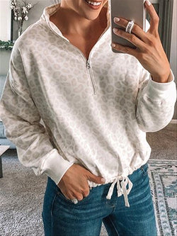 Autumn Casual Basic Daily Printed Long Sleeve Cotton Top