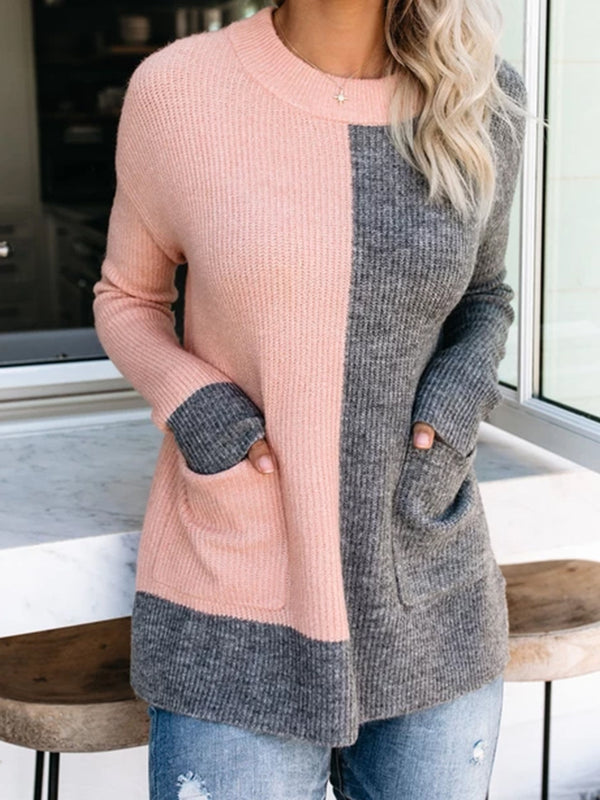 Pink Casual Long Sleeve Color-Block plus size Sweater