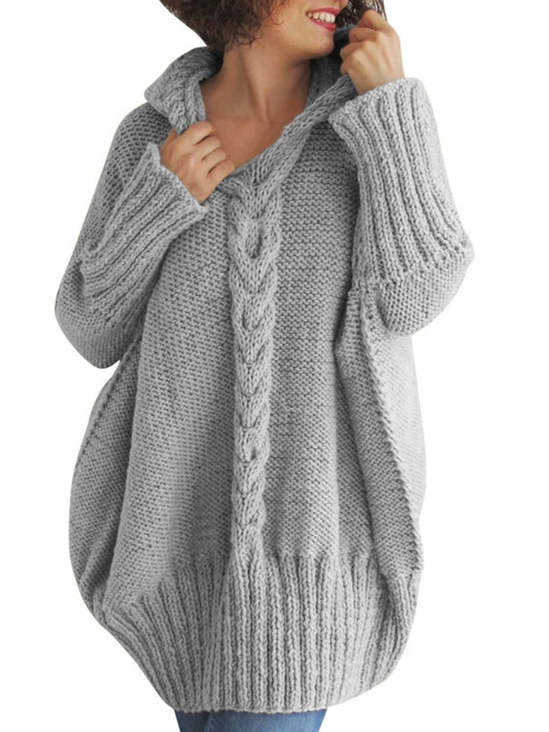 Plus Size Casual  Hoodie Long Sleeve Solid Sweater