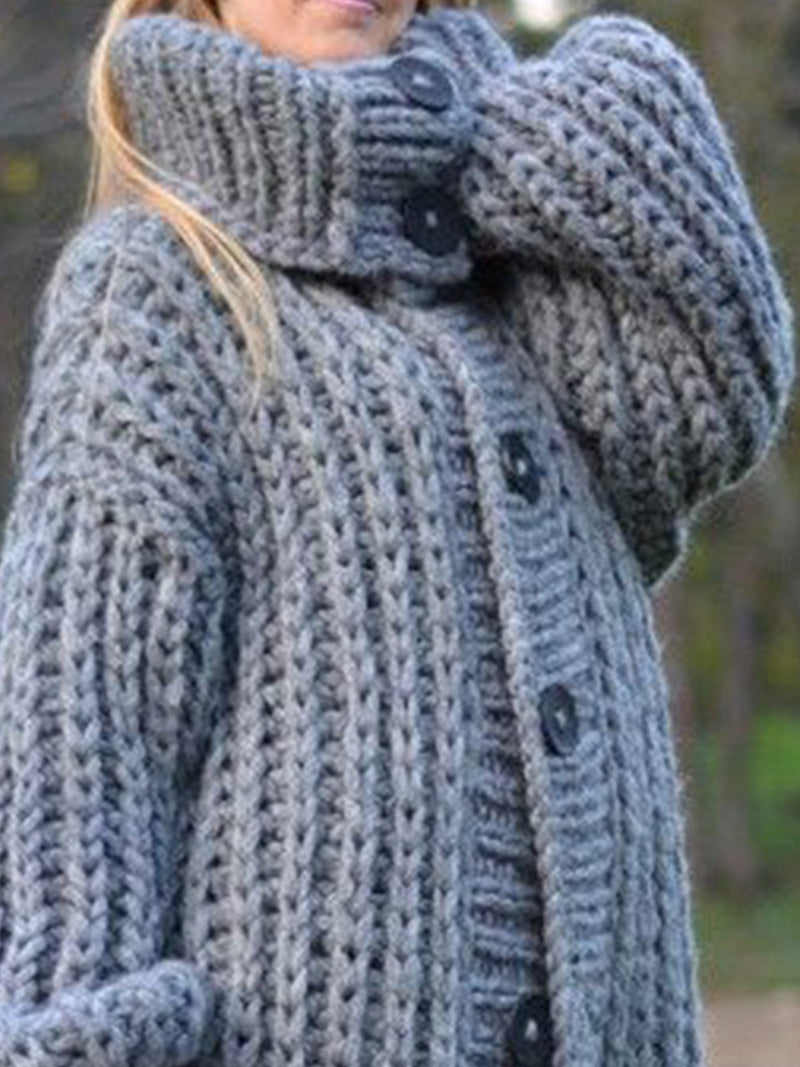Grey Buttoned Knitted Casual plus size Outerwear