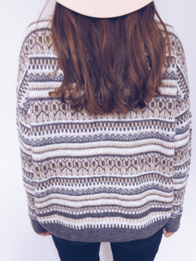 Multicolor Boho Cotton-Blend Round Neck Sweater