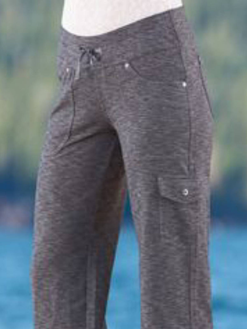 Gray Cotton-Blend Casual Plain Pants