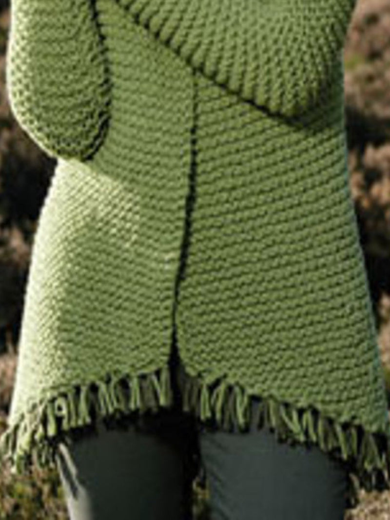Green Knitted Casual Long Sleeve plus size Outerwear