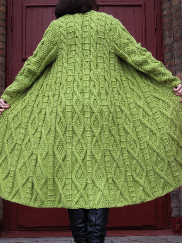 Green Solid Long Sleeve plus size Outerwear
