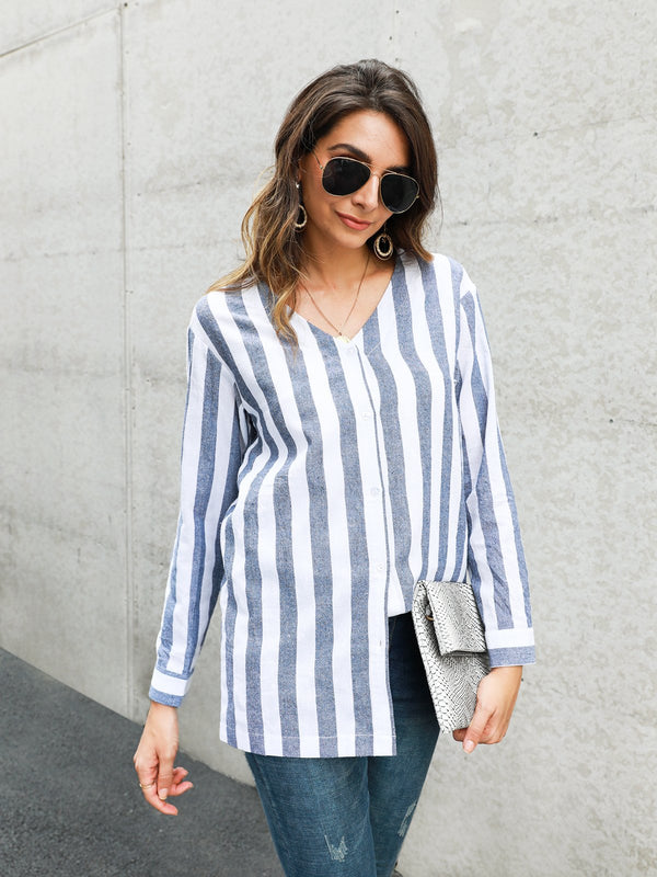 Long Sleeve Stripes Shirts & Tops