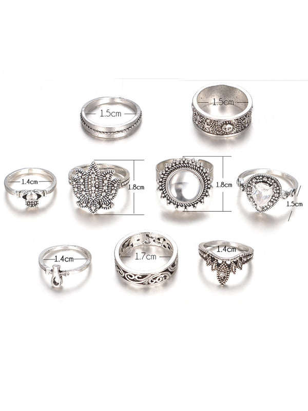 Vintage alloy ring set