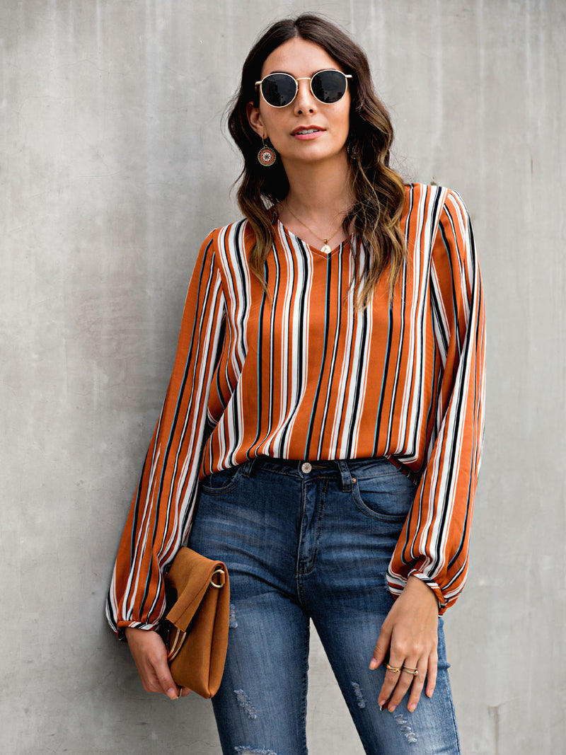 Orange Stripe Basic Shirts & Tops