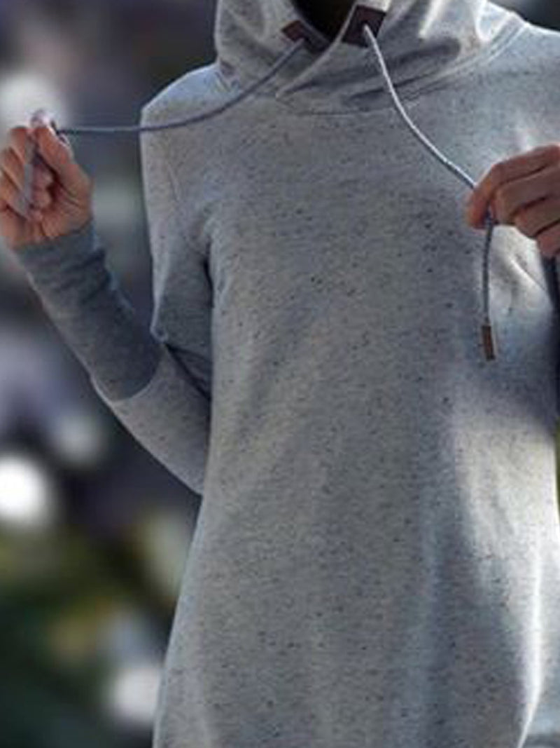 Gray Hoodie Long Sleeve Shirts & Tops