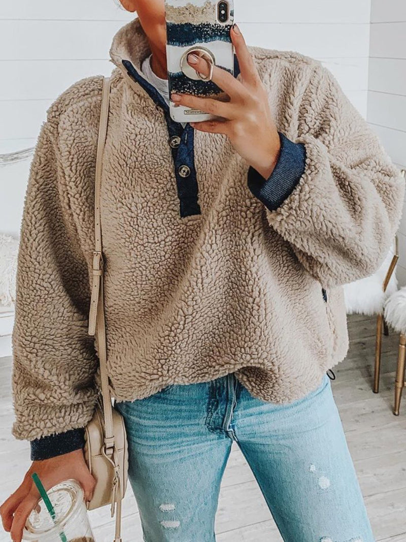 Casual Long Sleeve Patchwork Buttoned Tops