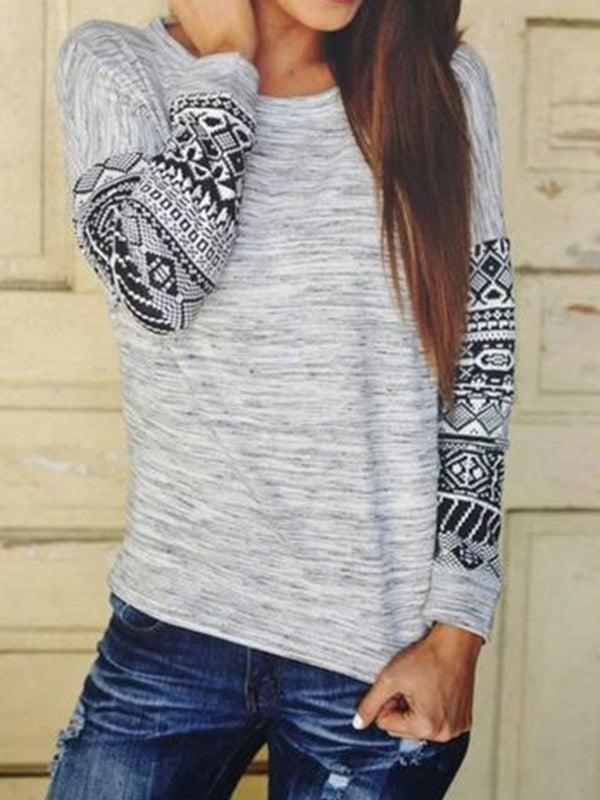 Plus Size Casual Long Sleeve Tribal Tops