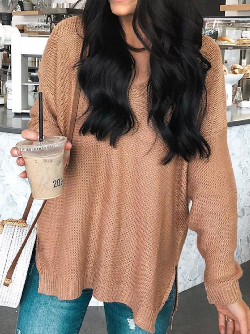 Plus Size Crew Neck Long Sleeve Plain Sweater