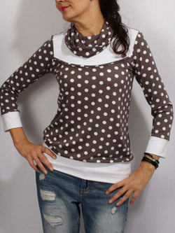 Coffee Turtleneck Long Sleeve Plus Size Blouse