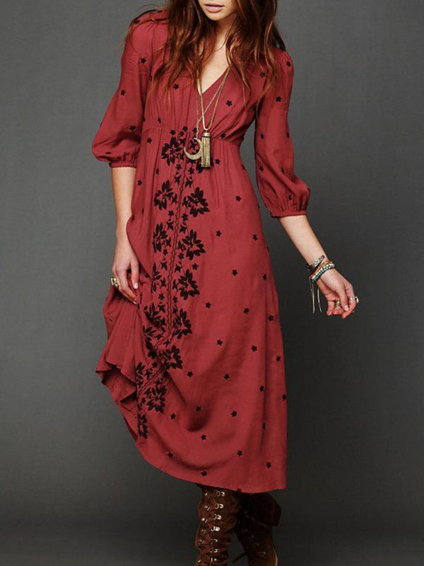 Red Printed Boho V Neck Floral Plus Size Dresses