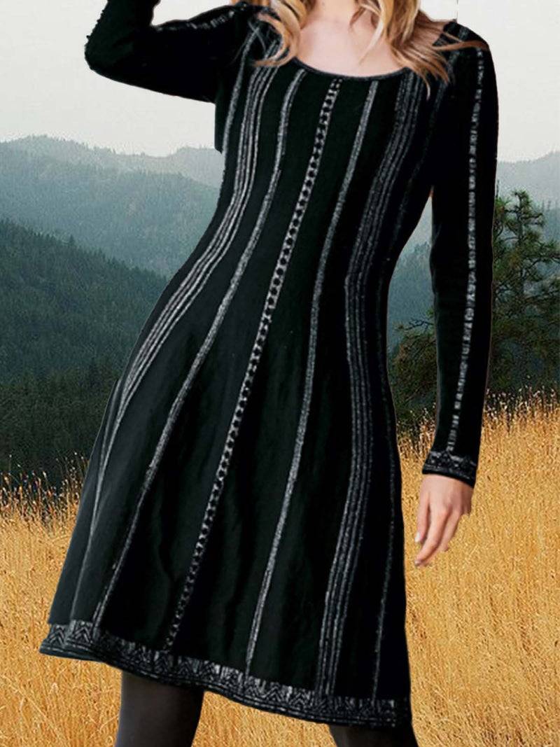 Vintage Crew Neck Striped Long Sleeve Midi Dress