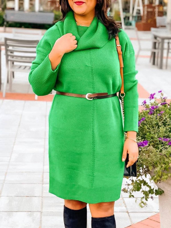 Green Casual Knitted Cowl Neck Solid Plus Size Dresses