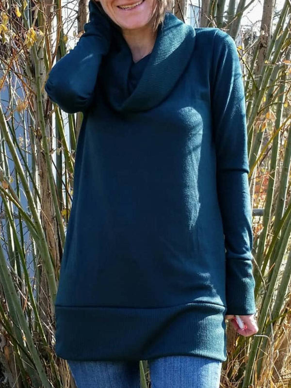 Deep Blue Cowl Neck Casual Plus Size Sweatshirt
