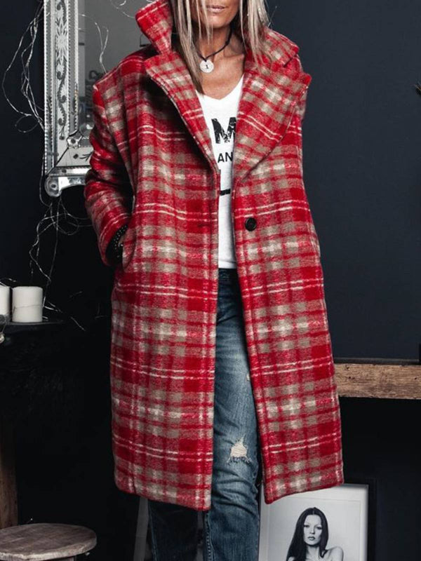 Red Checkered/plaid Casual Shawl Collar Plus Size Outerwear