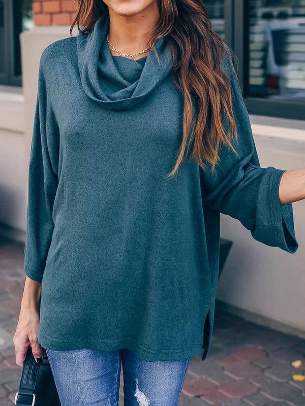 Teal Cotton Solid Long Sleeve Plus Size Blouse