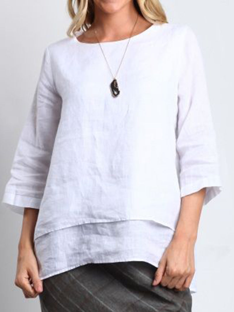 White Casual Cotton-Blend Round Neck Shirts & Tops