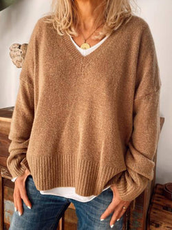 Khaki V Neck Casual Knitted Plus Size Sweater