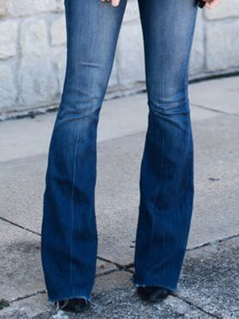 Retro simple denim flared pants