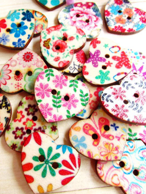 100Pcs Multi-Color Wooden Buttons Round Sewing Buttons For DIY Craft Bag Hat Clothes Decoration 22*25mm