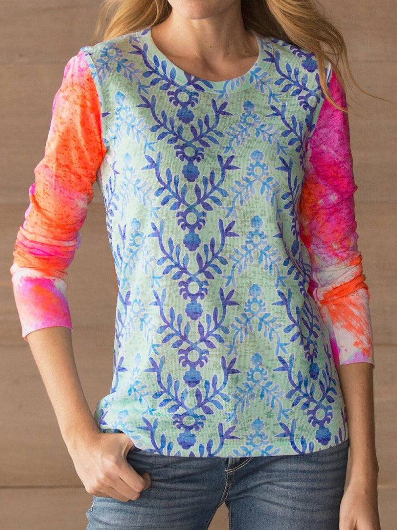 Blue Long Sleeve Casual Plus Size Blouse