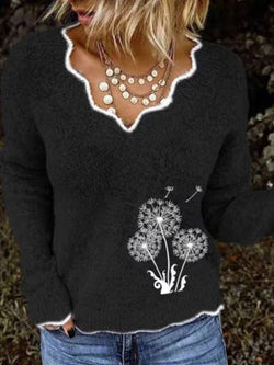 Embroidered Casual Long Sleeve Sweater