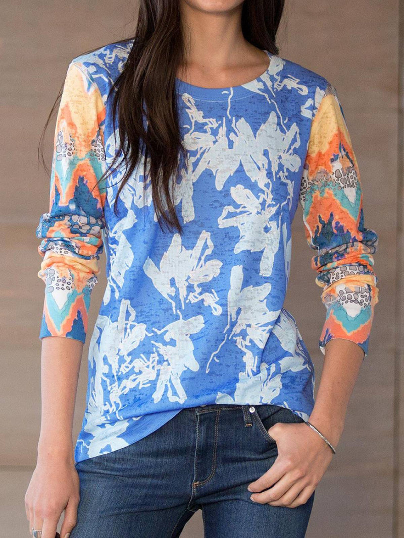 Blue Printed Casual Plus Size Soft Stretchy Blouse