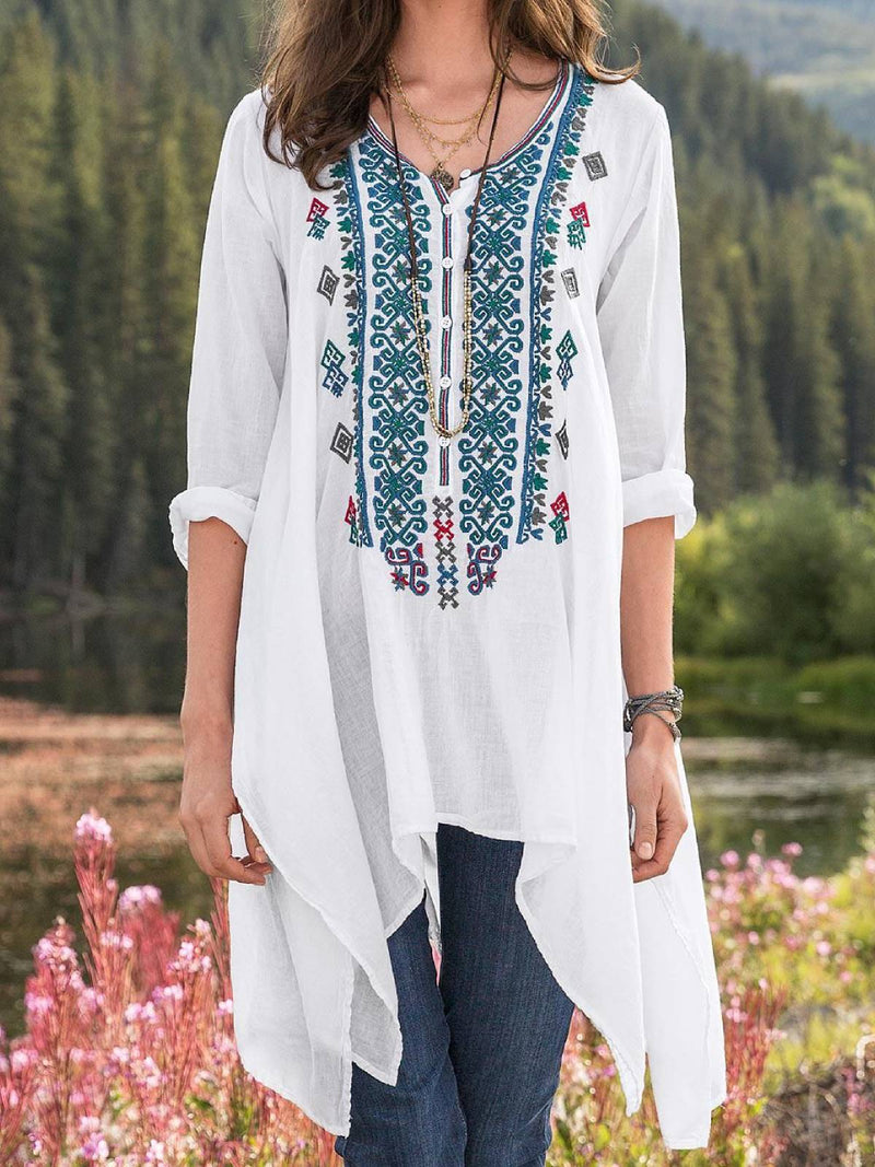 White Embroidery Long Sleeve Plus Size Blouse