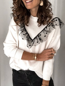 White Long Sleeve Knitted Casual Plus Size Sweater