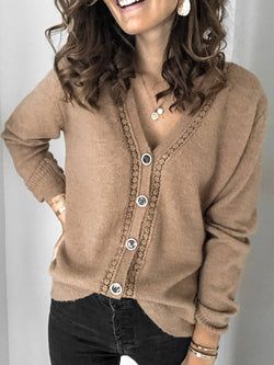 Brown Knitted Long Sleeve Casual Plus Size Coat