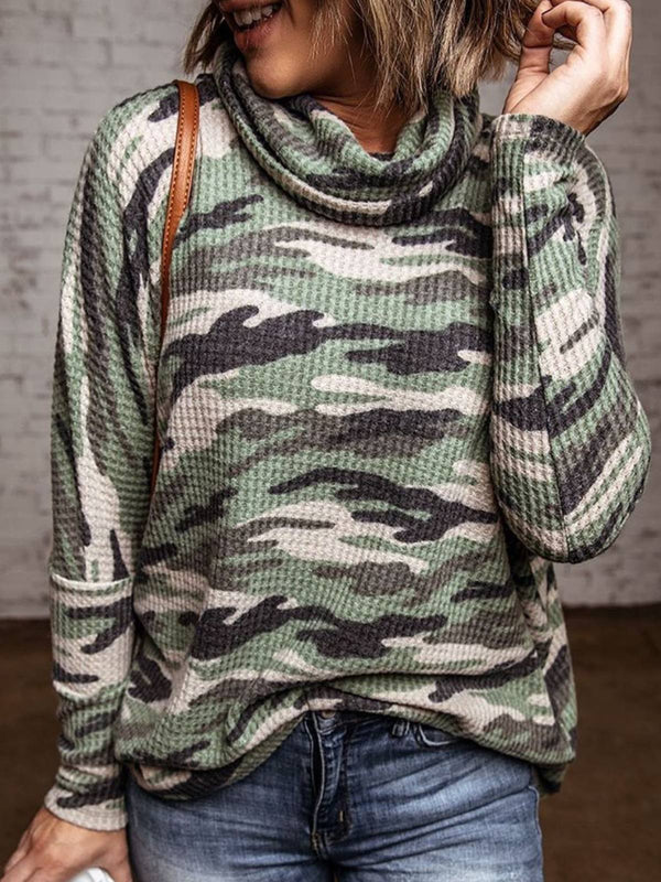 Camouflage Cowl Neck Striped Long Sleeve Plus Size Sweatshirt